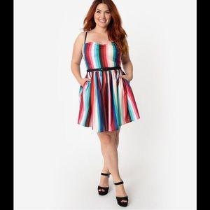 Unique Vintage Rainbow Stripe Dress 3X